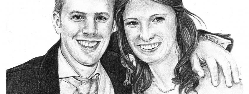 Pencil Sketch Portrait of Wedding Couple