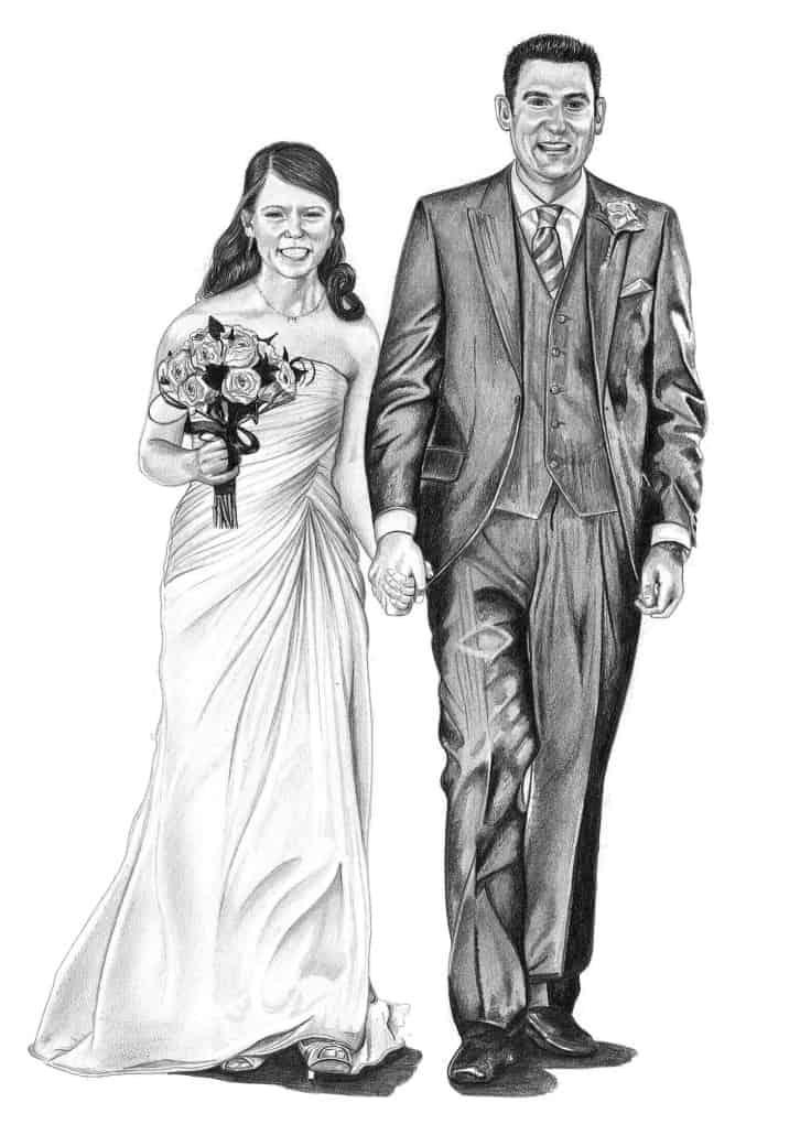 Pencil Drawing of Wedding Couple | Pencil Sketch Portraits