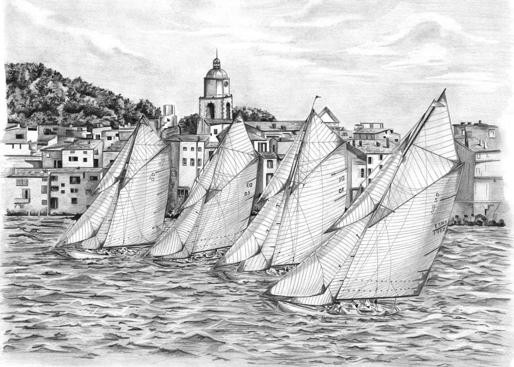 Pencil Drawing of Yachts Sailing at Sea