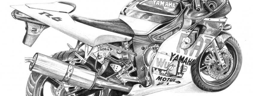 Pencil Drawing of Yamaha R6