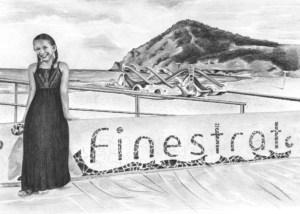 Pencil Portrait of Girl in Finestrat, Spain