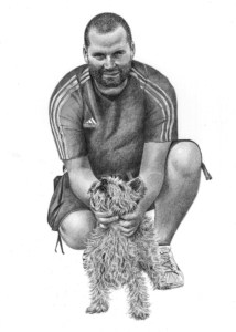 Pencil Drawing of Man with Yorkshire Terrier